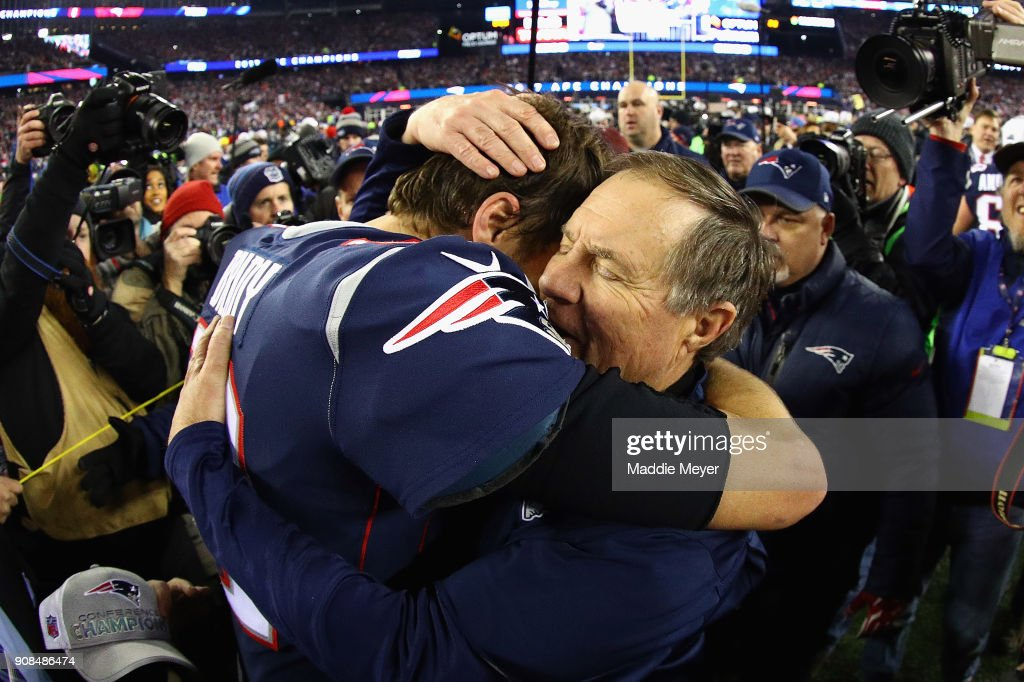 Tom Brady #12 of the New England Patriots celebrates with head coach Bill Belichick after winning the AFC Championship Game against the Jacksonville Jaguars at Gillette Stadium on January 21, 2018 in Foxborough, Massachusetts.