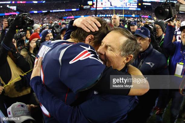 Tom Brady of the New England Patriots celebrates with head coach Bill Belichick after winning the AFC Championship Game against the Jacksonville...