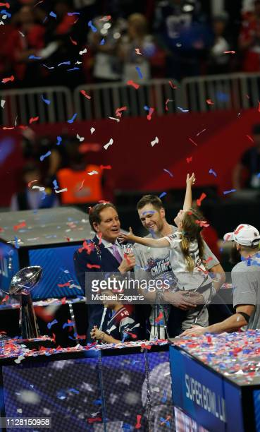 Tom Brady of the New England Patriots celebrates with his kids following Super Bowl LIII against the the Los Angeles Rams at MercedesBenz Stadium on...
