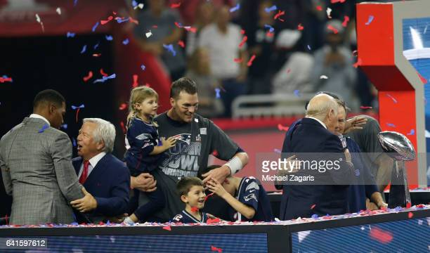 Tom Brady of the New England Patriots celebrates with his kids following Super Bowl 51 against the Atlanta Falcons at NRG Stadium on February 5 2017...