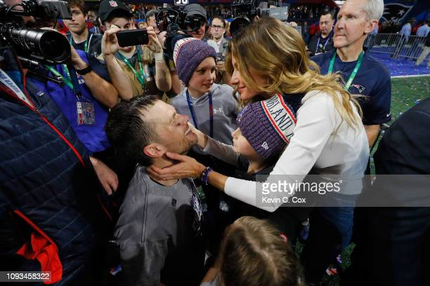 Tom Brady of the New England Patriots celebrates with his wife Gisele Bündchen after the Super Bowl LIII against the Los Angeles Rams at MercedesBenz...