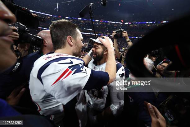 Tom Brady of the New England Patriots celebrates with Kyle Van Noy after their teams 133 win over the Los Angeles Rams in Super Bowl LIII at...