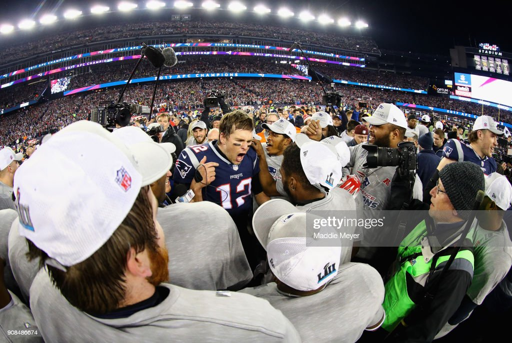 Tom Brady #12 of the New England Patriots celebrates with teammates after winning the AFC Championship Game against the Jacksonville Jaguars at Gillette Stadium on January 21, 2018 in Foxborough, Massachusetts.
