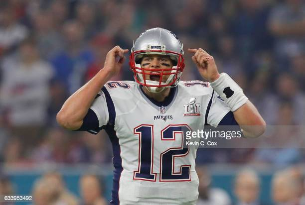 Tom Brady of the New England Patriots directs his team during the fourth quarter against the Atlanta Falcons during Super Bowl 51 at NRG Stadium on...