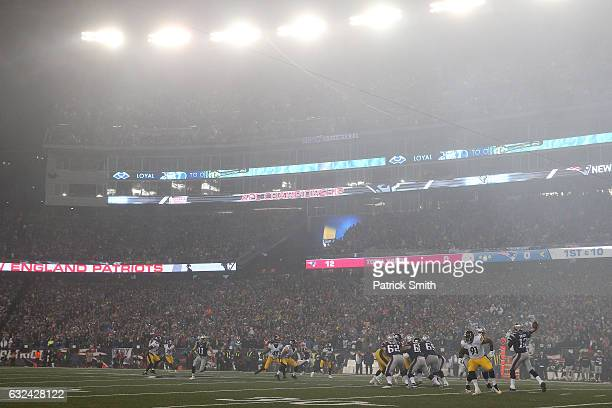 Tom Brady of the New England Patriots drops back to pass against the Pittsburgh Steelers during the first quarter in the AFC Championship Game at...