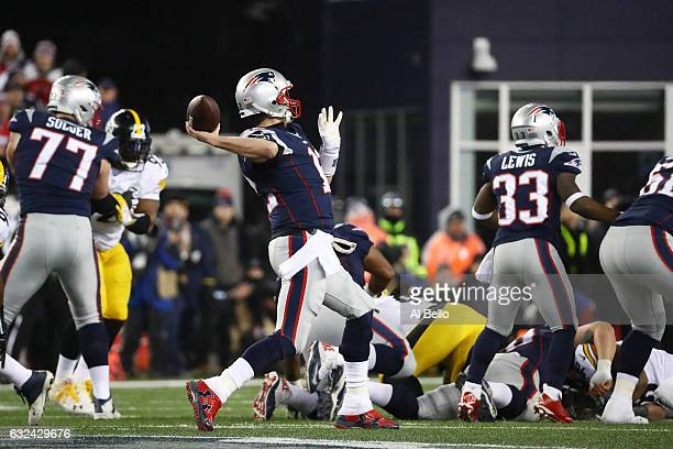 Tom Brady of the New England Patriots drops back to pass against the Pittsburgh Steelers during the second quarter in the AFC Championship Game at...
