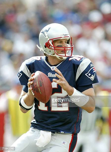 Tom Brady of the New England Patriots drops back to pass against the Buffalo Bills on September 10, 2006 at Gillette Stadium in Foxboro,...