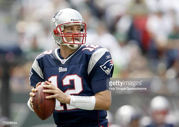 Tom Brady of the New England Patriots drops back to pass during a game against the New York Jets during their game on September 9 2007 at Giants...