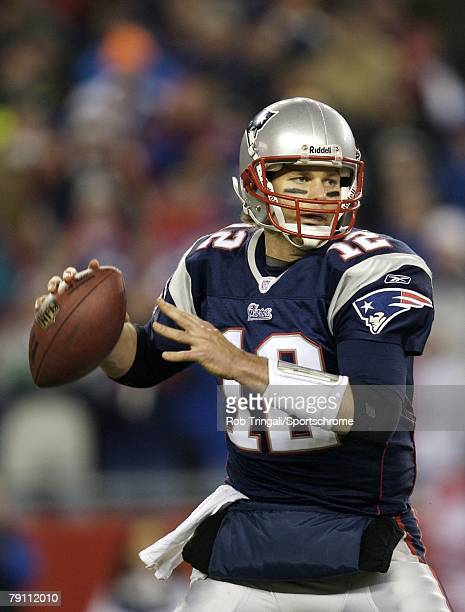 Tom Brady of the New England Patriots drops back to pass during a game against the Pittsburgh Steelers during their game on December 9 2007 at...