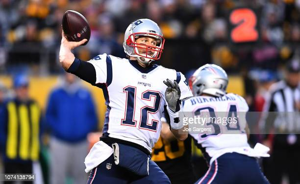 Tom Brady of the New England Patriots drops back to pass in the first quarter during the game against the Pittsburgh Steelers at Heinz Field on...