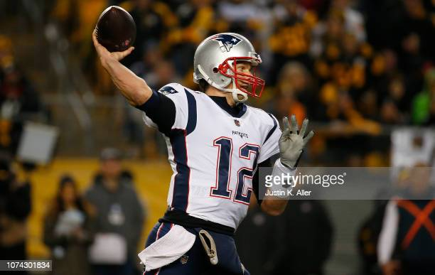 Tom Brady of the New England Patriots drops back to pass in the second half during the game against the Pittsburgh Steelers at Heinz Field on...