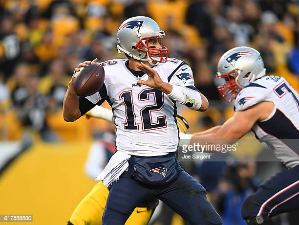 Tom Brady of the New England Patriots drops back to pass in the second half during the game against the Pittsburgh Steelers at Heinz Field on October...