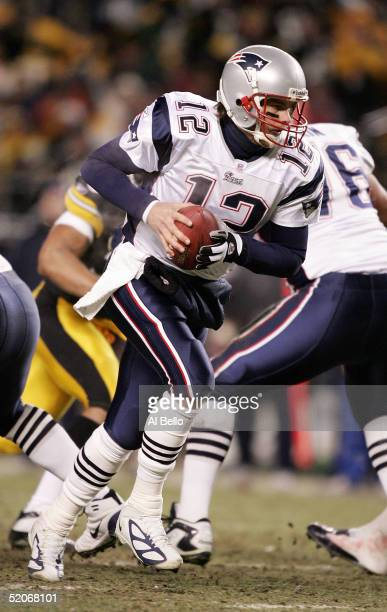 Tom Brady of the New England Patriots drops back with the ball in the AFC championship game against the Pittsburgh Steelers at Heinz Field on January...