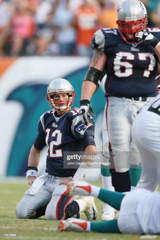 Tom Brady #12 of the New England Patriots during a game against the Miami Dolphins at Dolphin Stadium on December 10, 2006 in Miami, Florida. The Dolphins defeated the Patriots 21-0.