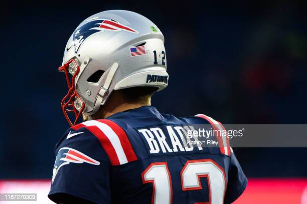 Tom Brady of the New England Patriots during warmups prior to the start of the game against the Kansas City Chiefs at Gillette Stadium on December 8...