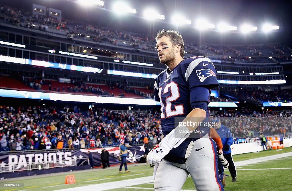 Tom Brady #12 of the New England Patriots exits the field after the Patriots 35-28 loss against the Philadelphia Eagles at Gillette Stadium on December 6, 2015 in Foxboro, Massachusetts.
