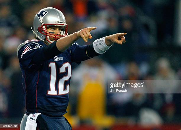 Tom Brady of the New England Patriots faces the Miami Dolphins at Gillette Stadium on December 23 2007 in Foxborough Massachusetts Patriots won 287