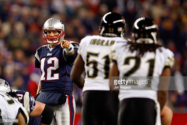 Tom Brady of the New England Patriots gestures before a play against the Jacksonville Jaguars during the AFC Divisional playoff game at Gillette...