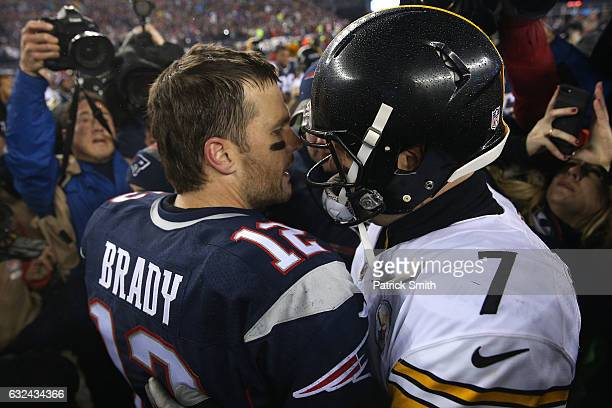 Tom Brady of the New England Patriots greets Ben Roethlisberger of the Pittsburgh Steelers after the Patriots defeated the Steelers 3617 to win the...