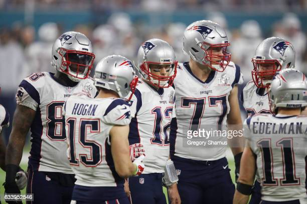 Tom Brady of the New England Patriots huddles with his team during the fourth quarter against the Atlanta Falcons during Super Bowl 51 at NRG Stadium...