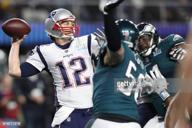 Tom Brady of the New England Patriots in action against the Philadelphia Eagles in Super Bowl LII at US Bank Stadium on February 4 2018 in...