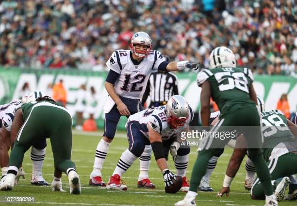 Tom Brady of the New England Patriots in action against the New York Jets during their game at MetLife Stadium on November 25 2018 in East Rutherford...