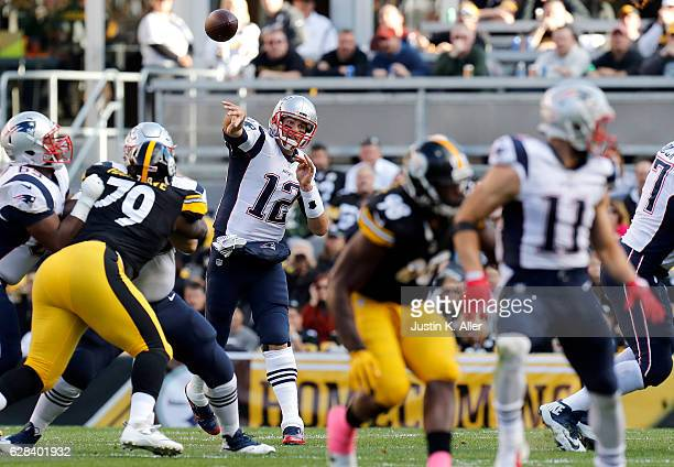 Tom Brady of the New England Patriots in action against the Pittsburgh Steelers at Heinz Field on October 23 2016 in Pittsburgh Pennsylvania