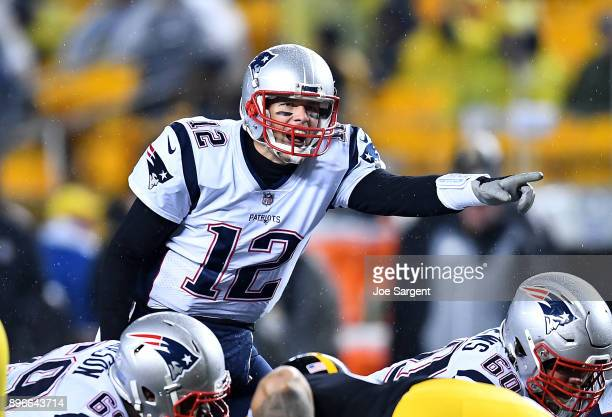 Tom Brady of the New England Patriots in action during the game against the Pittsburgh Steelers at Heinz Field on December 17 2017 in Pittsburgh...