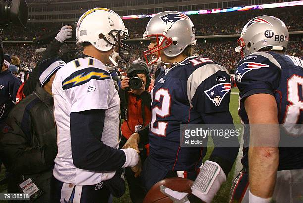 Tom Brady of the New England Patriots is congratulated by Philip Rivers of the San Diego Chargers after the Patriots 21-12 win in the AFC...