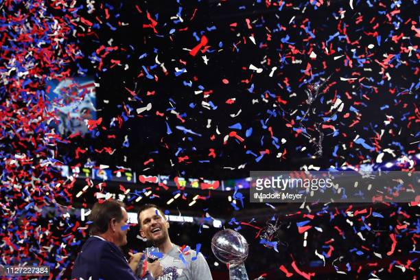 Tom Brady of the New England Patriots is interviewed after his teams 13-3 win over the Los Angeles Rams during Super Bowl LIII at Mercedes-Benz...
