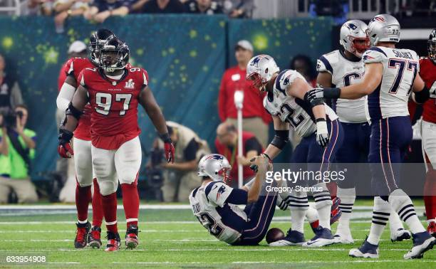Tom Brady of the New England Patriots is sacked by Grady Jarrett of the Atlanta Falcons in the fourth quarter during Super Bowl 51 at NRG Stadium on...