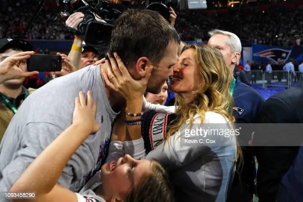Tom Brady of the New England Patriots kisses his wife Gisele Bündchen after the Super Bowl LIII against the Los Angeles Rams at Mercedes-Benz Stadium...