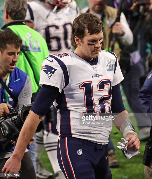 Tom Brady of the New England Patriots leaves the field after a loss to the Philadelphia Eagles in Super Bowl Lll at US Bank Stadium on February 4...