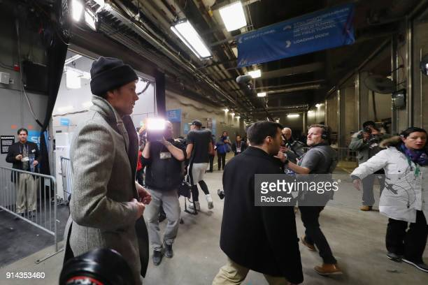 Tom Brady of the New England Patriots leaves the stadium after his teams 4133 loss to the Philadelphia Eagles in Super Bowl LII at US Bank Stadium on...