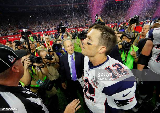Tom Brady of the New England Patriots looks on after defeating the Atlanta Falcons 3428 in overtime during Super Bowl 51 at NRG Stadium on February 5...