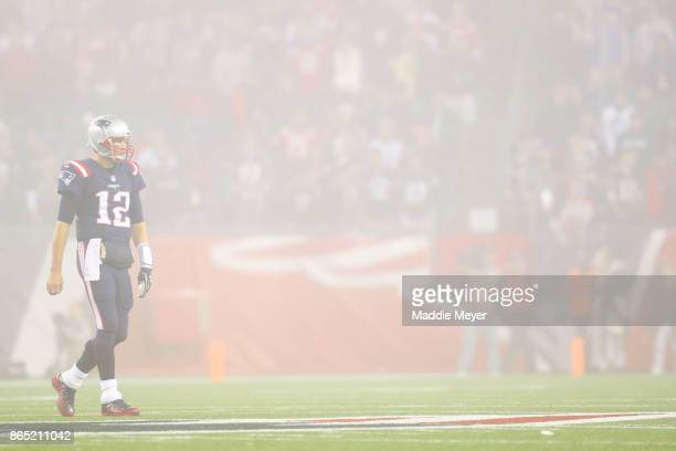 Tom Brady of the New England Patriots looks on during the second half against the Atlanta Falcons at Gillette Stadium on October 22 2017 in Foxboro...