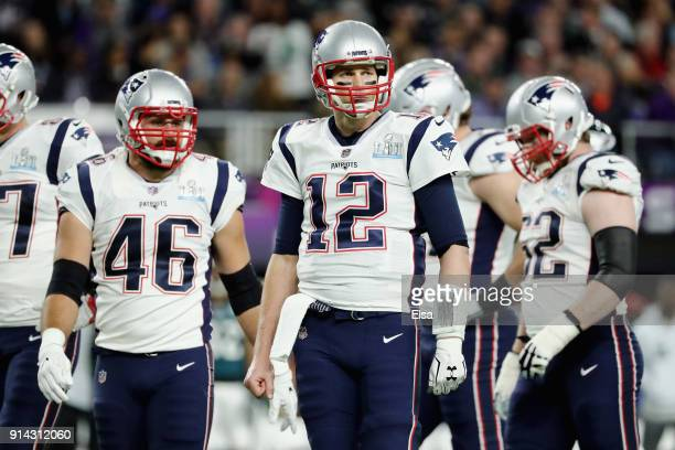 Tom Brady of the New England Patriots looks on the first half of Super Bowl LII against the Philadelphia Eagles at US Bank Stadium on February 4 2018...