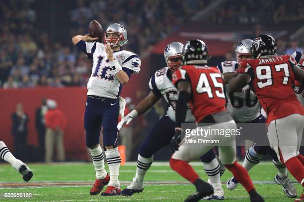 Tom Brady of the New England Patriots looks to pass during the fourth quarter against the Atlanta Falcons during Super Bowl 51 at NRG Stadium on...