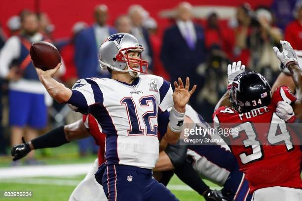 Tom Brady of the New England Patriots looks to pass during the third quarter against the Atlanta Falcons during Super Bowl 51 at NRG Stadium on...