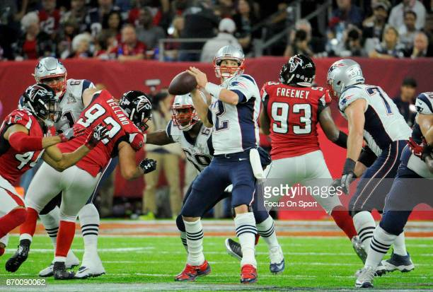 Tom Brady of the New England Patriots looks to throw a pass against the Atlanta Falcons during Super Bowl 51 at NRG Stadium on February 5 2017 in...