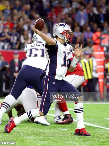 Tom Brady of the New England Patriots makes a pass against the Atlanta Falcons in the first quarter of Super Bowl 51 at NRG Stadium on February 5...