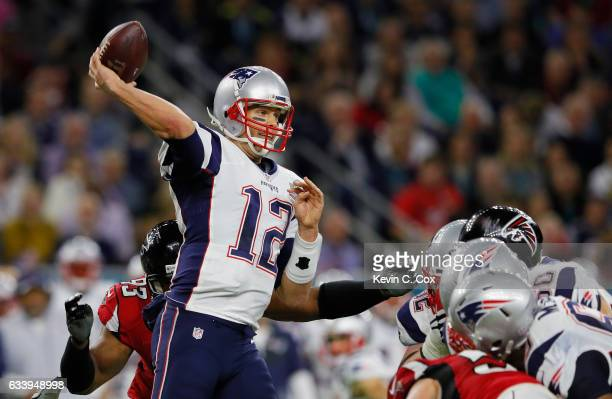 Tom Brady of the New England Patriots makes a pass against the Atlanta Falcons during the second quarter of Super Bowl 51 at NRG Stadium on February...