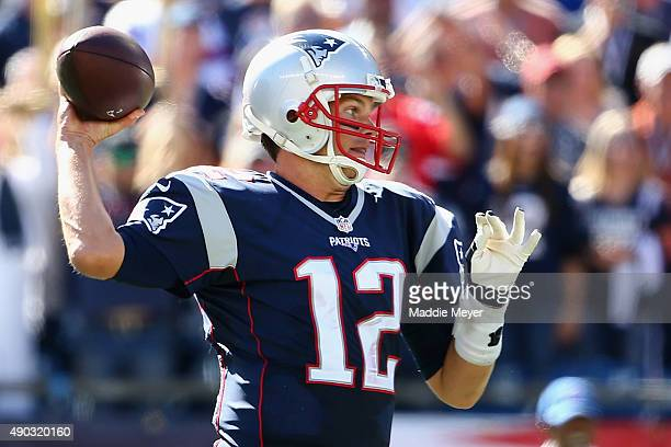 Tom Brady of the New England Patriots makes his 400th career touchdown pass during the second quarter against the Jacksonville Jaguars at Gillette...