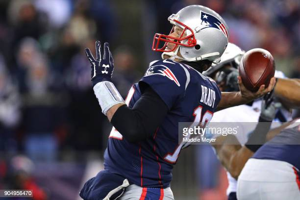 Tom Brady of the New England Patriots makes pass during the AFC Divisional Playoff game against the Tennessee Titans at Gillette Stadium on January...