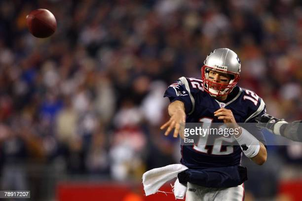 Tom Brady of the New England Patriots pass the ball against the Jacksonville Jaguars during the AFC Divisional playoff game at Gillette Stadium game...