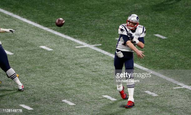 Tom Brady of the New England Patriots passes against the Los Angeles Rams during Super Bowl LIII at Mercedes-Benz Stadium on February 03, 2019 in...
