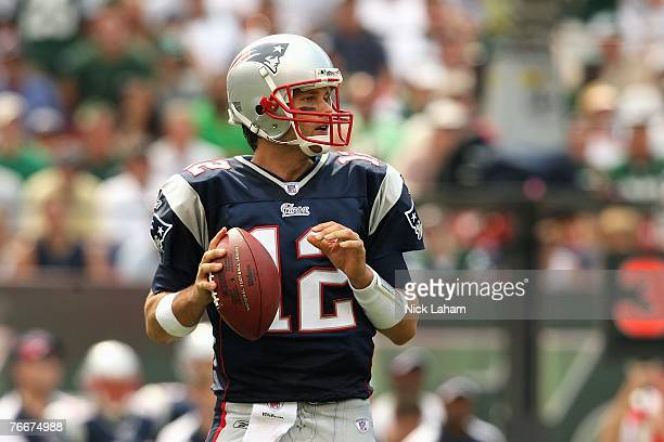 Tom Brady of the New England Patriots passes against the New York Jets during the NFL game on September 9 2007 at Giants Stadium in East Rutherford...