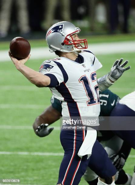 Tom Brady of the New England Patriots passes against the Philadelphia Eagles during Super Bowl Lll at US Bank Stadium on February 4 2018 in...