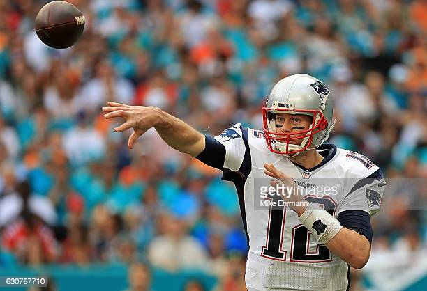 Tom Brady of the New England Patriots passes during a game against the Miami Dolphins at Hard Rock Stadium on January 1 2017 in Miami Gardens Florida