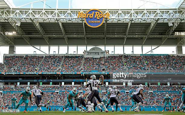 Tom Brady of the New England Patriots passes during a game against the Miami Dolphins at Hard Rock Stadium on January 1, 2017 in Miami Gardens,...